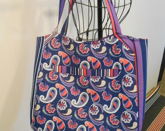 Large Market Tote Bag, Purple Paisley Tote, Large Womens Tote, Padded Tote Bag, Womens Gift, Swoon Alice, Shopping Tote