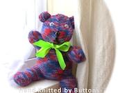 Hand Knitted Teddy bear  Teddy bear CE tested teddy UK Seller Newborn giftChristening teddyHand knitted teddy Teddy Bear