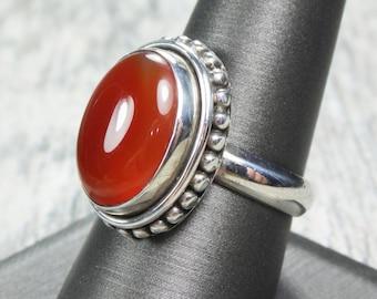 Vintage Sterling Silver Carnelian Ring Vintage Orange Stone Ring Sterling Silver Ring Oval Polished Carnelian Size 9 - Free Shipping