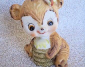 Vintage Bear Cub Figurine, Cute Bear with Honeypot, Kelvin Porcelain Bisque