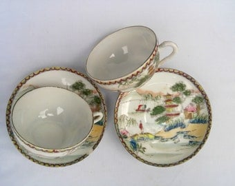 Antique Hand Painted Eggshell Porcelain China Tea Cups and Saucers (4 Piece Set). Japanese Geisha Late 1800's Red and Yellow Tea Set.