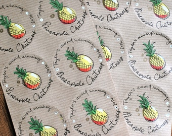"""PINEAPPLE - Personalised labels - Custom kraft paper stickers - Round, Oval, 2"""" labels - homemade preserves and cosmetics"""