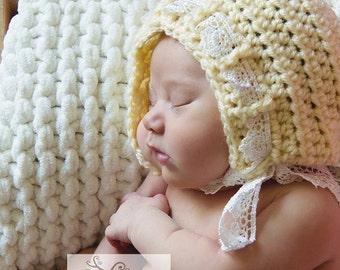 Newborn Lace Bonnet, Newborn Photography Prop, Newborn girl hat, crochet lace bonnet, newborn bonnet hat