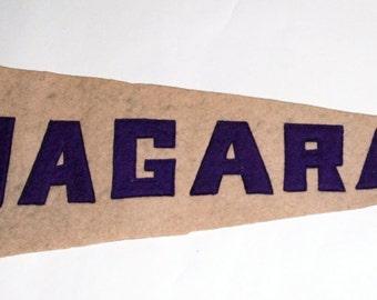 Genuine Vintage Original 1920s-'30s Sewn Letters Felt Pennant for Niagara  -- Free Shipping!