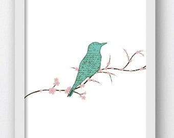 Bird Prints, Bird Art Prints, Teal Color Birds, Teal Color Art, Shabby Chic, Printable Bird Art, Printable Artwork