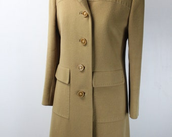 Vintage Women's Chesterfield Overcoat - Lester Melnick - Ultima - Tan - 100% Cashmere - Tailored by Mister Vincent - 1960's - Fall Fashion