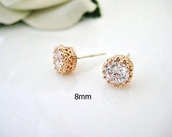 Rose Gold Stud Earrings 8mm Cubic Zirconia Stud Earrings Bridal Crystal Earrings Wedding Jewelry Bridesmaids Gift Minimalist Jewelry (E093)