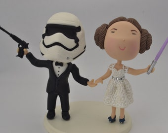 Princess Leia bride and Stormtrooper groom. Star Wars cake topper. Wedding figurine.  Handmade. Fully customizable.