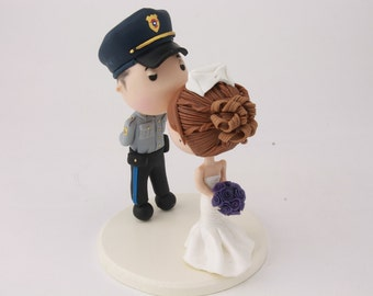 Wedding cake topper. Police Officer and Nurse. Handmade. Fully customizable. Unique keepsake.