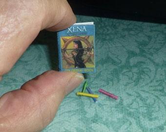 XENA WARRIOR PRINCESS Coloring Book & 4 Crayolas Dollhouse Book 1:12 Scale