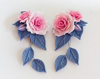 Pink rose earrings. Dangle earrings. Baby Pink flower earrings. Polymer clay jewelry.  Rose jewelry. Bridesmaids gift. Pink blue earrings.