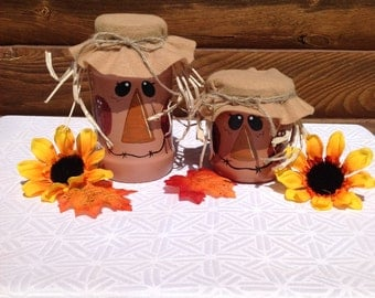 Pair Of Scarecrow Jars, Fall Decor, Home Decor, Shelf Sitters