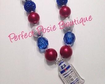 R2d2 Robot Star Wars necklace, chunky bead, bubblegum bead, photo prop, gift, birthday