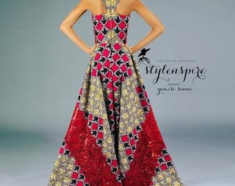New Collection | Ankara Lace Maxi Dress | ANKARA LACE ASYMMETRIC Dress with Lace Stole | Shawl | Scarf