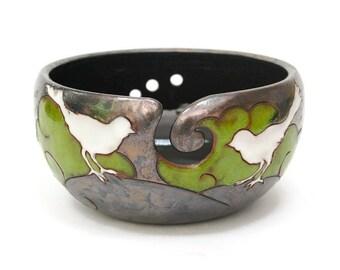 Yarn Bowl with Birds, Pottery Yarn Bowl, Ceramic Yarn Bowl, Crochet Bowl, Knitting Bowl, Yarn Bowls, Yarn, Yarn Holder, Knitting Supplies