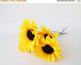"""ON SALE 5 Artificial Silk Flowers Big Yellow Sunflowers with brown center measuring 5"""" Floral Hair Accessories Flower Supplies Faux Fake"""