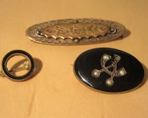 Antique Victorian Wear and TLC Black Enamel Seed Pearl and Bar Brooch Lot of 3