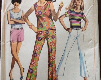 Simplicity 7103 - 1960s Overblouse and Hip Hugger Pants - Size 9 Juniors Petite Bust 32.5