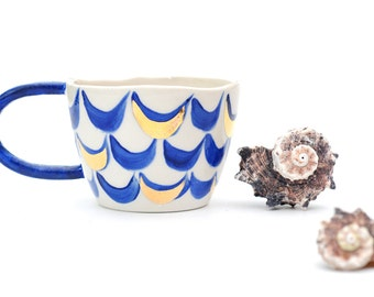 MERMAID CUP - Hand Painted  - Gold & Blue - White Stoneware - Made to Order - Free Postage Australia Wide
