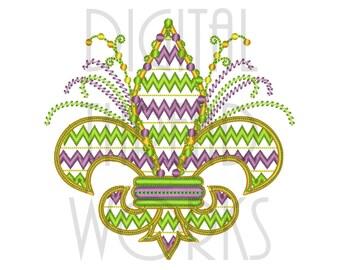 Chevron Fleur De Lis Machine Embroidery Design for 4x4, 5x7, and 8x10 inch Hoops Mardi Gras Instant Download