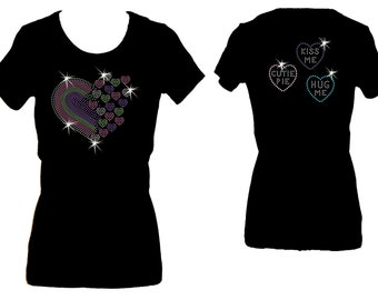 Floating Heart Hug Me Kiss Me Valentines Day Rhinestone Bling Womens Bling Tee Shirt