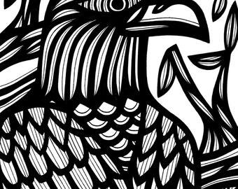 Intense Bird Nature Original Drawing
