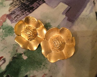 Kenzo Vintage Gold Flower Earrings