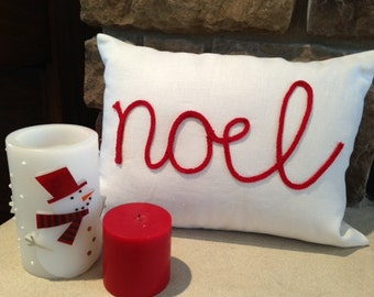 White Linen Pillow Cover with Red Noel Lettering