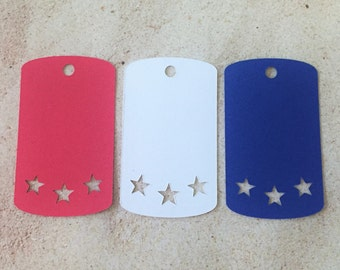 "Red, White and Blue Favor Tags (2"" wide), Star Gift Tags, 4th of July Favor Tags"