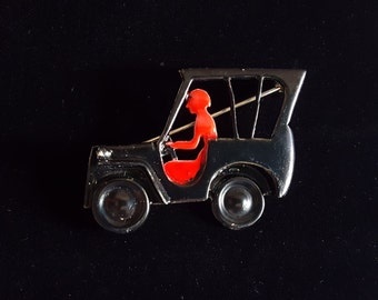 Vintage Black and Red Car and Driver Metal Pin