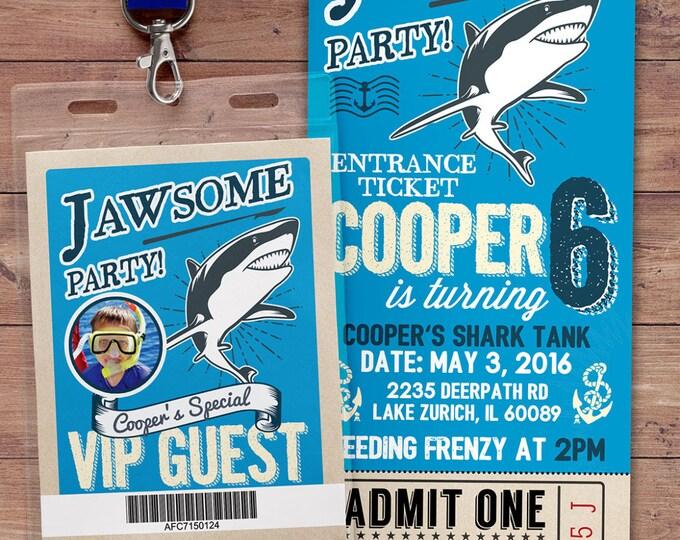 Shark invitation - Shark attack birthday invite - Shark birthday invitation - nautical- swimming party-pool party, shark attack, shark bite