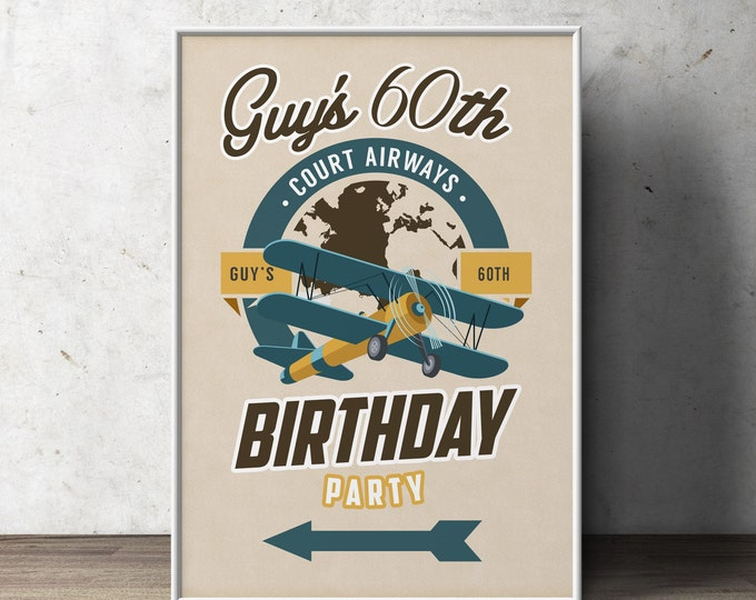Party signs, Vintage Airplane, birthday, luggage tag- Vintage, Airplane / Birthday Party, first birthday, ticket invitation, 1st, 60th