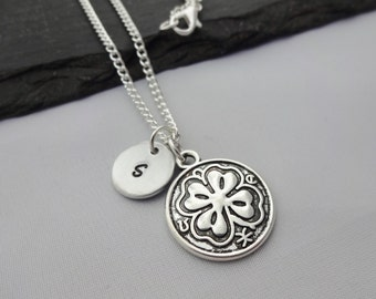Initial Clover Necklace, Clover Necklace, Four Leaf Clover, Initial Charm Necklace, Charm Necklace, Clover Gifts, Good Luck Gifts