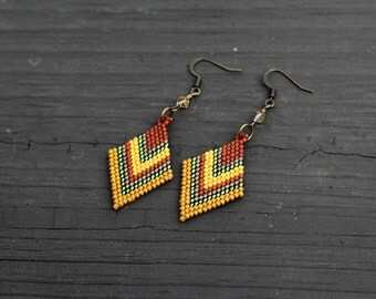 Brick Stitch Autumn Themed Beaded Earrings, Diamond Shaped Thanksgiving Beadwork Earrings