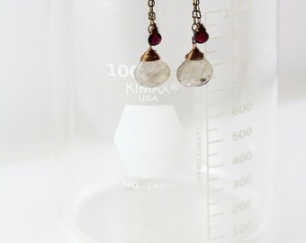Gold Rutilated Quartz and Garnet Faceted Teardrop Antique Brass Chain Wire Wrapped Dangle Earrings