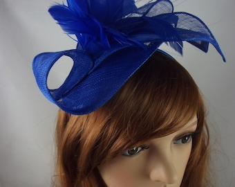 Royal Blue Leaf Sinamay Fascinator with Feather Flower - Hat Wedding Races