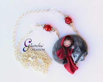 Necklace Little Red Riding Hood and Wolf, handmade polymer clay