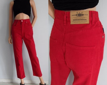 High waisted jeans, red 80s vintage mom pants, tapered leg, denim pants, x small, waist 25.5