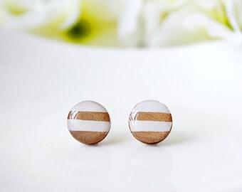 Modern / earring / gold white / Wooden Resin Stud, Simple Stud Earring, Cool Earrings, Mini Stud, Minimalist earring, Gold Foil earrings