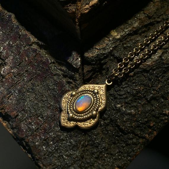 Sharya - antique opal necklace, ethiopian opal necklace, vintage opal necklace, boho opal necklace, antique gold necklace, opal welo pendant