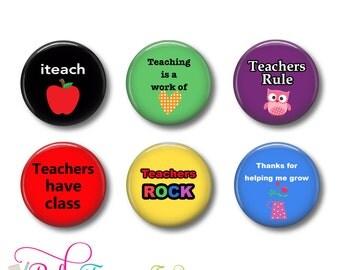 Teachers Set of 6 Magnets 1 Inch (2.5cm)