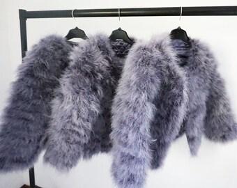 Grey Ostrich Feather Jacket Marabou Winter Womens Clothing Outerwear Warm Coat Eveningwear