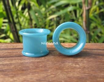 "Aqua Blue Tunnels Pyrex Glass Gauges 6g 4g 2g 0G 00g 7/16"" 1/2"" 9/16"" 5/8"" 4 mm 5 mm 6 mm 8 mm 10 mm 12 mm 14 mm and up to 1"" (25.4 mm)"