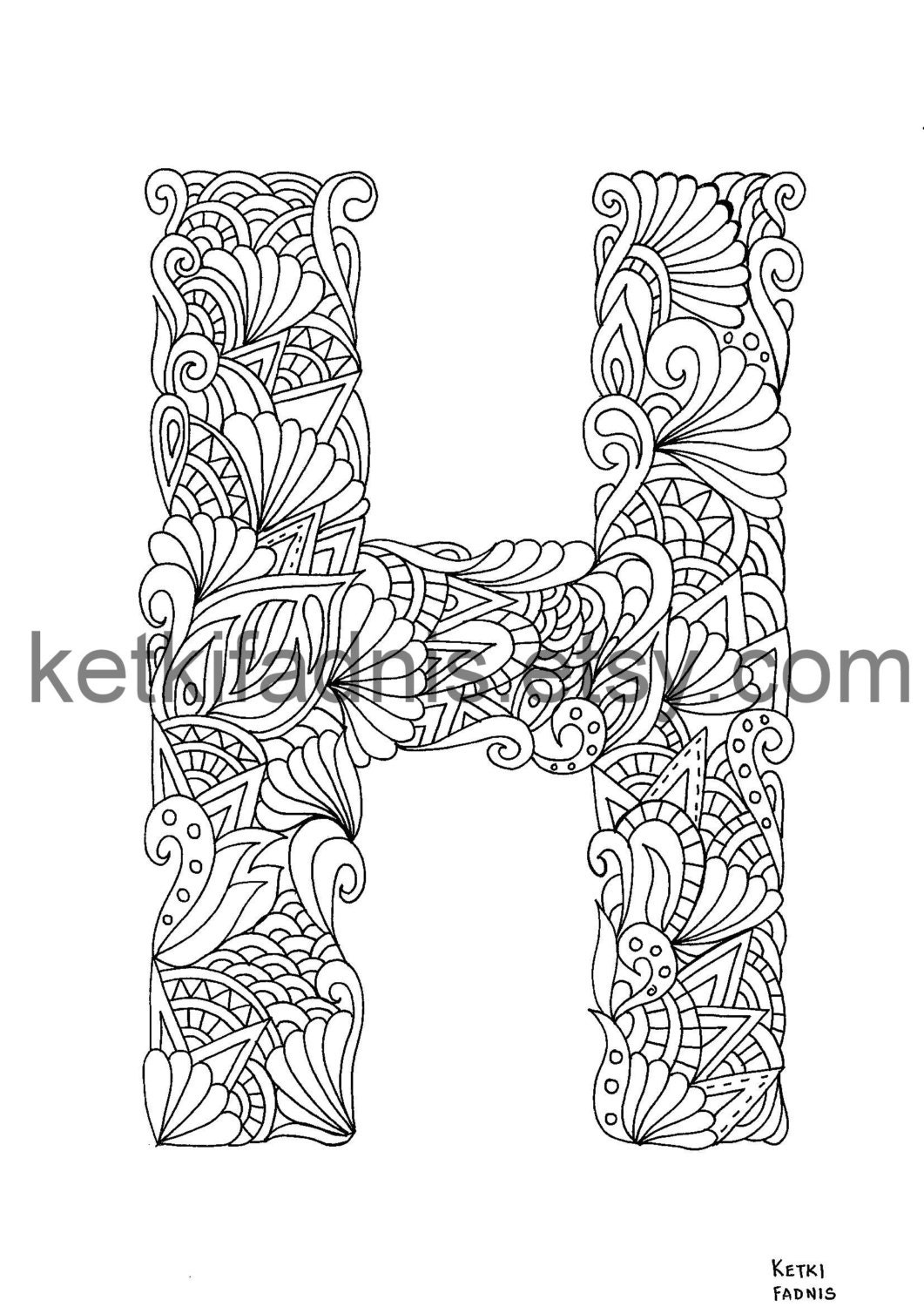 letter h coloring page instant pdf download alphabet