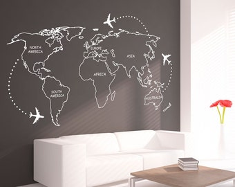World Map - Outlines - Wall Decal - Continents Decal - Large World Map - Vinyl - World Map Wall Sticker - SKU:WoMaOuWi