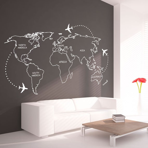 World map outlines wall decal continents decal large te gusta este artculo gumiabroncs Image collections