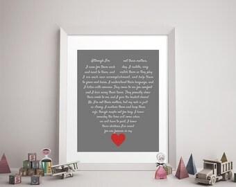 CAREGIVER/DAYCARE POEM Digital Download - Daycare Provider Gift, Caregiver Print, Godmother, Stepmother, Family Art, Heart, Like a Mother