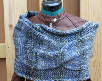 Blue Plaid Jumbo Cable Cowl- Highland Cowl