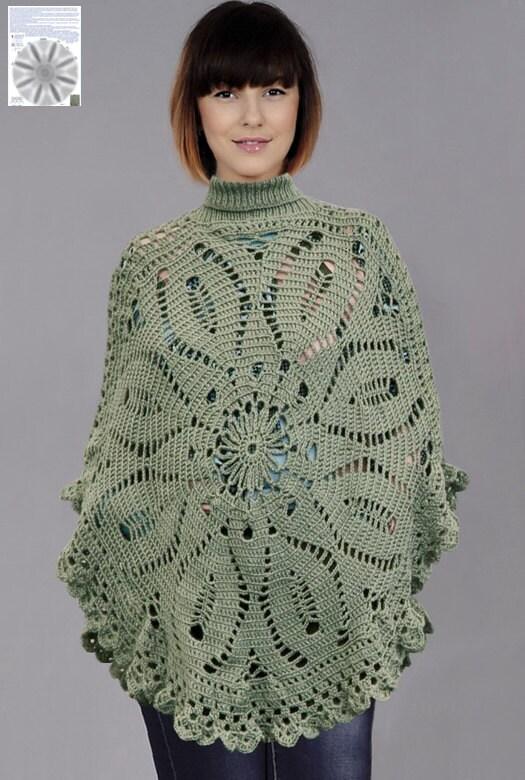 Bohemian Poncho Free Crochet Pattern : Crochet poncho PATTERN warm boho poncho crochet PDF pattern