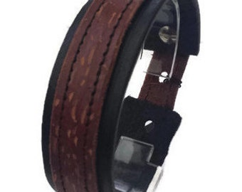 Sale 40% off Simple Leather Wrist Cuff with coloured stitches/Gifts for him/Gifts for her